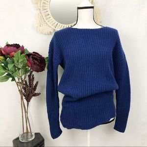 Boden royal blue chunky knit wool sweater 6